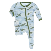 KicKee Pants Footie - Pond Airplanes (ZIPPER) *CLEARANCE*