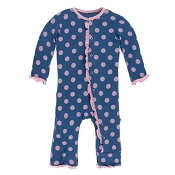 KicKee Pants Muffin Ruffle Coverall - Twilight Dots (SNAPS)