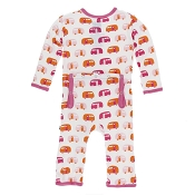KicKee Pants Fitted Coverall - Natural Camper (SNAPS) *CLEARANCE*