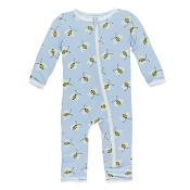 KicKee Pants Fitted Coverall - Pond Bees (ZIPPER)