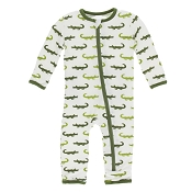 KicKee Pants Fitted Coverall - Natural Crocodile (ZIPPER) *CLEARANCE* (Preemie size)