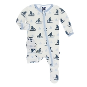 KicKee Pants Footie - Natural Sailboat (ZIPPER) *CLEARANCE*
