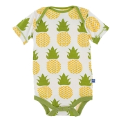 KicKee Pants Print Short Sleeve One-Piece - Natural Pineapple - Preemie size - *CLEARANCE*