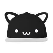 Whistle & Flute Cat Flat Brim Cap with Ears