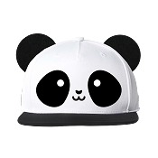 Whistle & Flute Panda Flat Brim Cap with Ears