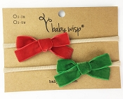 *Baby Wisp Headband 2 Pack - Velvet Bow - Deep Red & Emerald