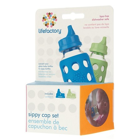 Lifefactory Sippy Caps for 4oz and 9oz Baby Bottle - 2 Pack