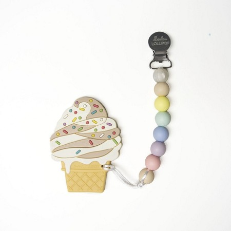 *Loulou Lollipop Chocolate Swirl Ice Cream Teether with Holder