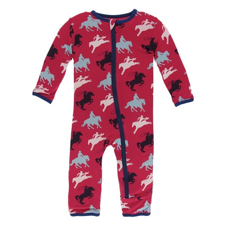 KicKee Pants Fitted Coverall - Flag Red Cowboy (ZIPPER) *CLEARANCE* (Size 0-3 Months)