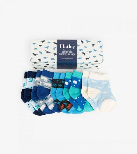 Hatley Baby Socks Gift Tin - Tiny Dinos (0-12 months)