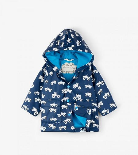 Hatley Baby Raincoat - Colour Changing Monster Trucks (Size 9-12 Months)