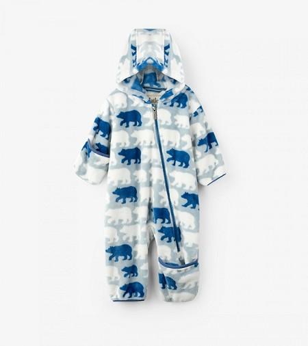 Hatley Fuzzy Fleece Baby Bundler - Polar Bear Silhouettes (6-9 month) *CLEARANCE*