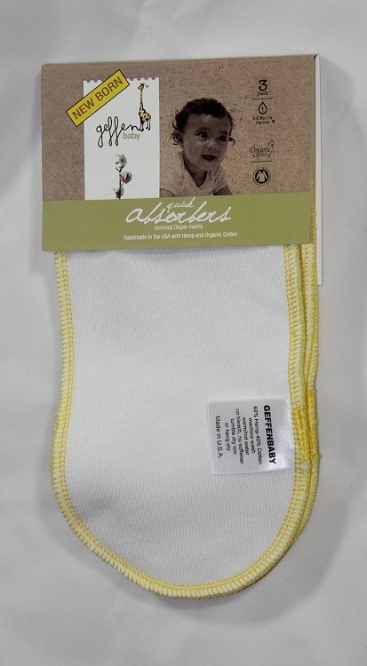 Geffen Baby Newborn Quick Absorbers 3-Pack (Yellow Trim)