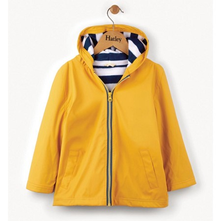Hatley Yellow with Navy Stripe Lining Splash Jacket (Size 3)