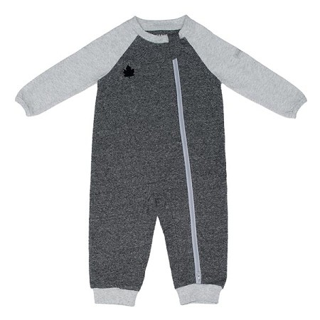 Juddlies Organic Raglan Playsuit - Graphite Black