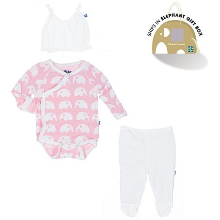 Kickee Pants Essentials Ruffle Kimono Newborn Gift Set w/ Box - Lotus Elephant *CLEARANCE*