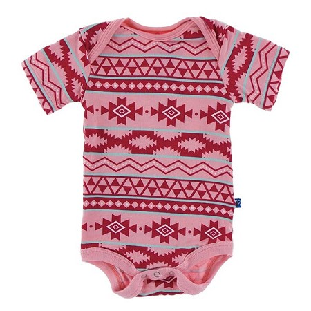 KicKee Pants Print Short Sleeve One-Piece - Strawberry Mayan Print (Size Preemie)