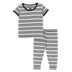 KicKee Pants Print Short Sleeve Pajama Set - India Pure Stripe