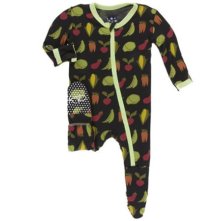 KicKee Pants Footie - Zebra Garden Veggies (Zipper)