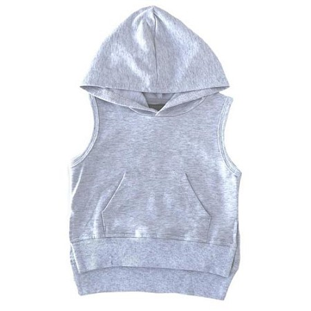 Little Bipsy Collection Sleeveless Hoodie - Heather Grey (Size 0-3 Months)
