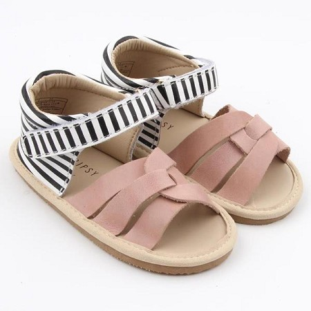 Little Bipsy Collection Sandals / Isla / Blush & Black Stripe
