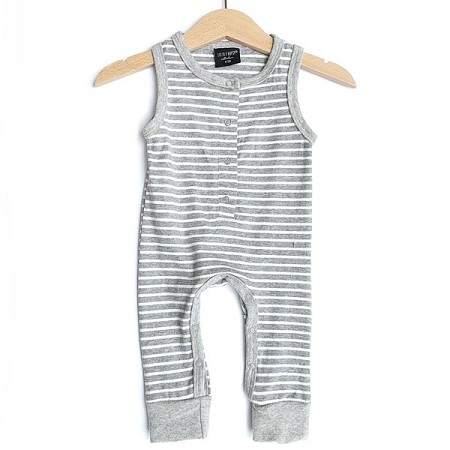 Little Bipsy Collection Sleeveless Stripe Snap Romper - Grey and White