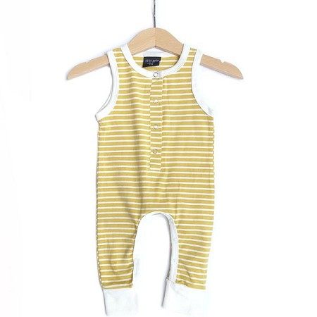 Little Bipsy Collection Sleeveless Stripe Snap Romper - Yellow and White