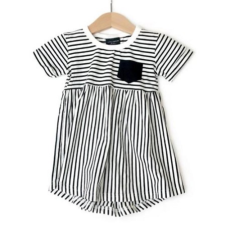 Little Bipsy Collection Stripe Swoop Dress - Black (Size 2T/3T)
