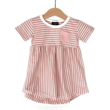 Little Bipsy Collection Stripe Swoop Dress - Blush (Size 2T/3T)