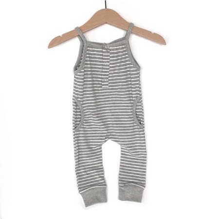 Little Bipsy Collection Tank Stripe Romper - Grey