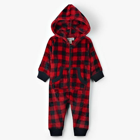Little Blue House Baby Hooded Fleece Jumpsuit - Buffalo Plaid