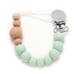 *Loulou Lollipop Colour Block Silicone & Wood Pacifier Clip