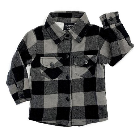 Little Bipsy Collection Fully Lined Buffalo Plaid Flannel - Charcoal & Black