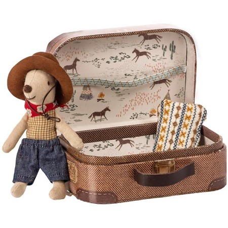 *Maileg Cowboy in a Suitcase - Little Brother Mouse