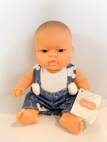 *Minikane / Paola Reina Doll - Baby Boy in Blue Mickey Overalls and White Shirt