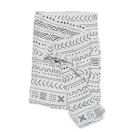 Loulou Lollipop Luxe Muslin Swaddle - White Mudcloth