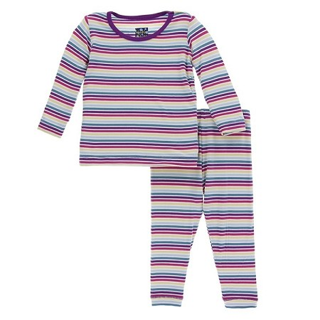 KicKee Pants Long Sleeve Pajama Set - Girl Perth Stripe (Size 12-18 Months)  *CLEARANCE*