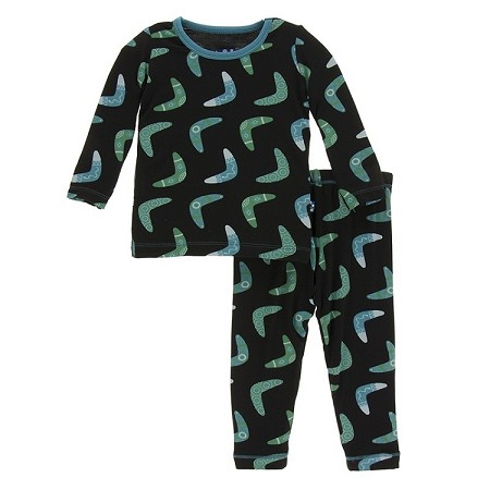KicKee Pants Long Sleeve Pajama Set - Midnight Boomerang (Size 12-18 Months) *CLEARANCE*
