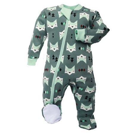 ZippyJamz Footie - Green Quiet Fox